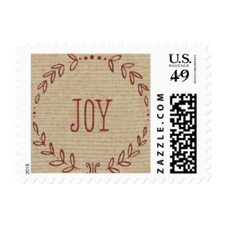 Rustic Red Wreath Holiday Stamp