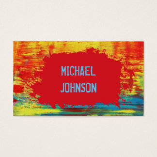 Rustic Red Yellow Blue Abstract Art Grunge Font Business Card