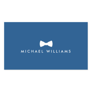 Rustic Refined Men's Bow Tie Logo on Blue Double-Sided Standard Business Cards (Pack Of 100)