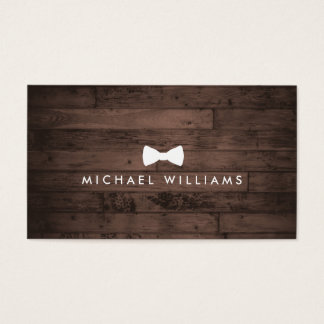 Rustic Refined Men's Bow Tie Logo on Brown Wood Business Card