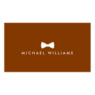 Rustic Refined Men's Bow Tie Logo on Caramel Brown Business Cards