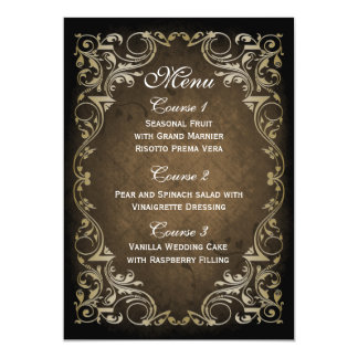 Rustic Regal Ornamental Brown And Gold Wedding Card