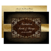 Rustic Regal Ornamental Brown And Gold Wedding Card