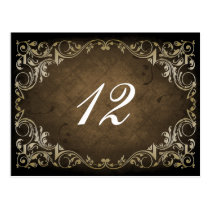 Rustic Regal Ornamental Brown And Gold Wedding Postcard