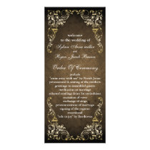 Rustic Regal Ornamental Brown And Gold Wedding Rack Card