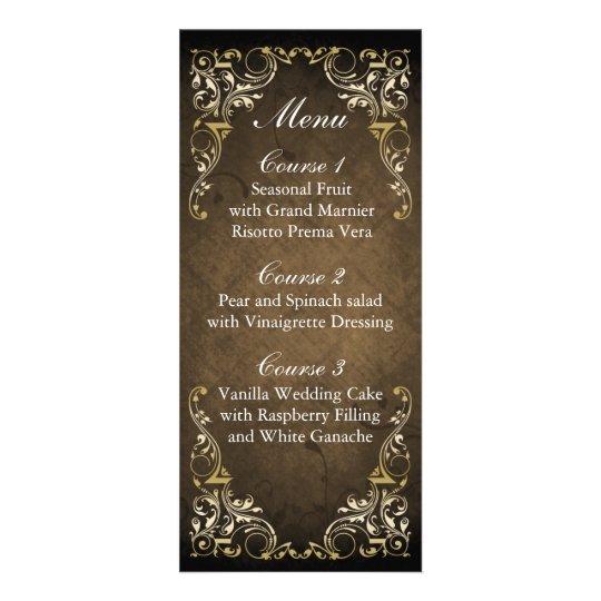 Rustic Regal Ornamental Brown And Gold Wedding Rack Card