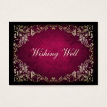 Rustic Regal Ornamental Fuchsia And Gold Wedding Business Card