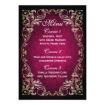 Rustic Regal Ornamental Fuchsia And Gold Wedding Card