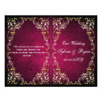 Rustic Regal Ornamental Fuchsia And Gold Wedding Flyer