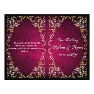 Rustic Regal Ornamental Fuchsia And Gold Wedding Flyer