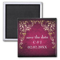 Rustic Regal Ornamental Fuchsia And Gold Wedding Magnet