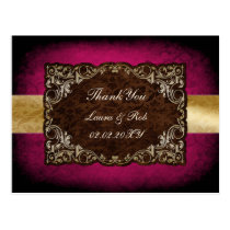 Rustic Regal Ornamental Fuchsia And Gold Wedding Postcard
