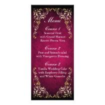 Rustic Regal Ornamental Fuchsia And Gold Wedding Rack Card
