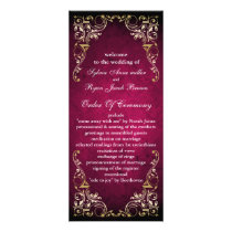 Rustic Regal Ornamental Fuchsia And Gold Wedding Rack Card