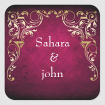 Rustic Regal Ornamental Fuchsia And Gold Wedding Square Sticker