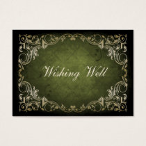 Rustic Regal Ornamental Green And Gold Wedding Business Card