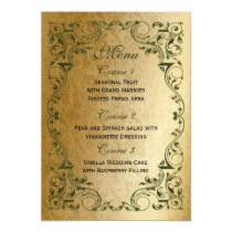Rustic Regal Ornamental Green And Gold Wedding Card