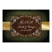 Rustic Regal Ornamental Green And Gold Wedding Card