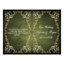 Rustic Regal Ornamental Green And Gold Wedding Flyer