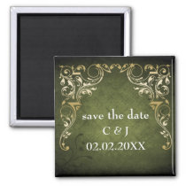 Rustic Regal Ornamental Green And Gold Wedding Magnet