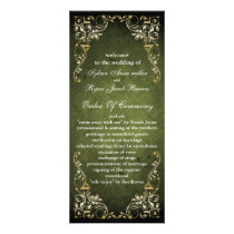 Rustic Regal Ornamental Green And Gold Wedding Rack Card