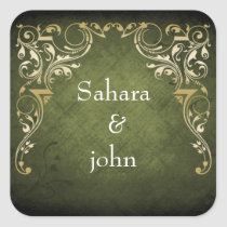 Rustic Regal Ornamental Green And Gold Wedding Square Sticker