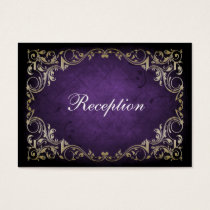 Rustic Regal Ornamental Purple And Gold Wedding Business Card