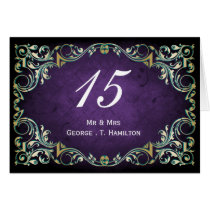 Rustic Regal Ornamental Purple And Gold Wedding Card