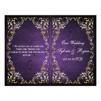 Rustic Regal Ornamental Purple And Gold Wedding Flyer