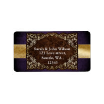 Rustic Regal Ornamental Purple And Gold Wedding Label