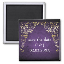 Rustic Regal Ornamental Purple And Gold Wedding Magnet