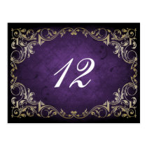 Rustic Regal Ornamental Purple And Gold Wedding Postcard