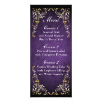 Rustic Regal Ornamental Purple And Gold Wedding Rack Card