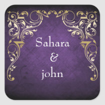 Rustic Regal Ornamental Purple And Gold Wedding Square Sticker