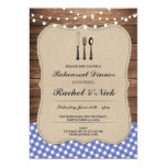 Rustic Rehearsal Dinner Cutlery Blue Check Invite