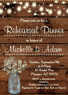 mason jar rehearsal dinner invitations zazzle