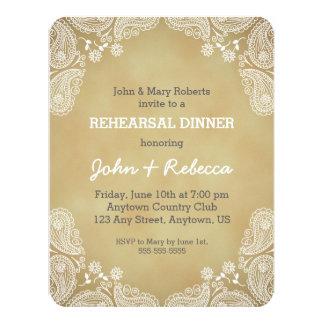 Rustic Rehearsal Dinner Invite, White Paisley Card
