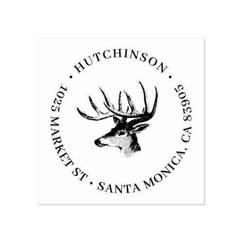 Rustic Reindeer Antlers Round Return Address Rubber Stamp