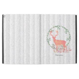 "Rustic Reindeer Boho Watercolor Custom iPad Pro 12.9"" Case"