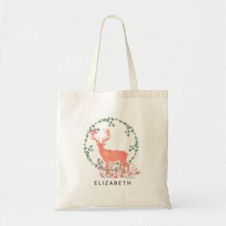 Rustic Reindeer Boho Watercolor Custom Tote Bag