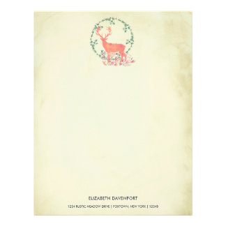 Rustic Reindeer Boho Watercolor Personalized Letterhead