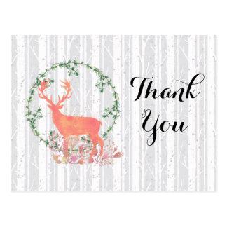 Rustic Reindeer Boho Watercolor Thank You Postcard