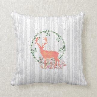 Rustic Reindeer Boho Watercolor Throw Pillow