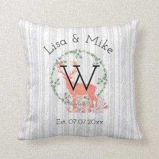 Rustic Reindeer Boho Watercolor Wedding Throw Pillow