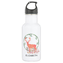 Rustic Reindeer Boho Wreath Watercolor Custom Stainless Steel Water Bottle
