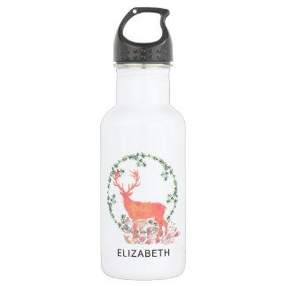 Rustic Reindeer Boho Wreath Watercolor Custom Stainless Steel Water Bottle