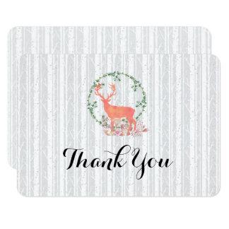 Rustic Reindeer Botanical Wedding Thank You Card