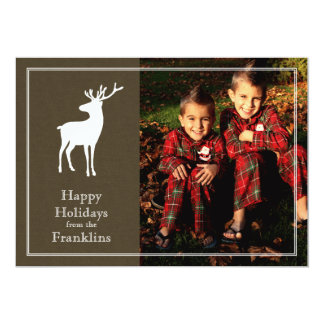 Rustic Reindeer Photo Holiday Christmas Card
