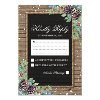 Rustic Response | Christmas Winter Wedding RSVP Card
