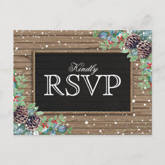 Rustic Response | Christmas Winter Wedding RSVP Invitation Postcard